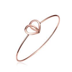 方法 18k ローズの金の中心の形の Bangle Nouble Heart の女性の宝石類のブレスレット