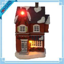 Loja de Natal de fibra óptica Village House Building Dom Luz decorativa
