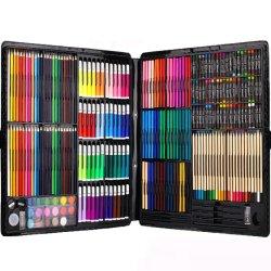 Insieme di legno della cancelleria della cassa delle matite colorato nuova illustrazione di arte di disegno di Fashionabe