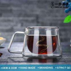 耐熱性二重壁のガラスコーヒー・マグ