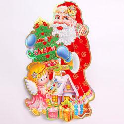 De aangepaste 3D het Stempelen van de Kerstman Gouden Stickers van het Venster van het Ornament van Kerstmis
