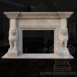 Hochwertige Weiße Travertin Lion Tier Marmor Kamin Skulptur