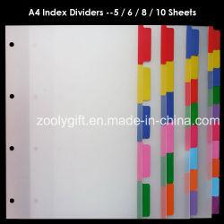 A4 PP Fichier index de l'onglet Index de couleur du diviseur de reliures à anneaux