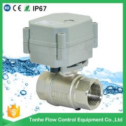На заводе прямой продажи 2 электрическим под действием электропривода никелированный латунный шаровой клапан для мелкомасштабной сточных вод (T25-N2-A)
