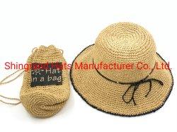 Commerce de gros crochet Summer Sun chapeaux de paille de papier dans un sac de broderie