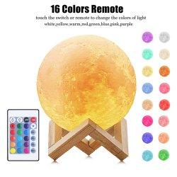 Луну лампа ночного света 3D-печати Moonlight Timeable индикатор яркости аккумуляторы на прикроватном мониторе Стол письменный стол