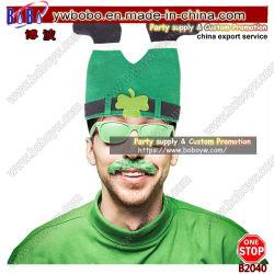 Dança irlandesa de trajes Verde engraçadas Shamrock Hat Tampa Promocionais Holiday Headwear Sports Hat Clown Fancy Hat Contratante dons (B2040)