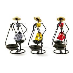 Supporto di candela africano del candeliere del ferro del metallo della statua della donna per il mestiere domestico della decorazione del giardino