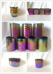 Vidro com relevo suporte para velas com brilhantes cores metálicas