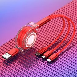 Горячая продажа телескопической 2.4A 3 в 1 зарядное устройство Micro USB-кабель для мобильных ПК аксессуары для телефонов// аксессуаров для мобильных телефонов аксессуары для телефонов ячейки