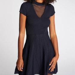 2020 женских горячей моды ребра фантазии вязки кружевом платье черного цвета