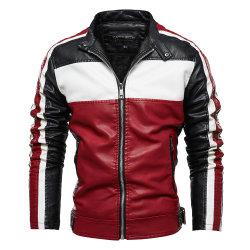 PU coton coloré les hommes de l'hiver Biker Type occasionnel enduire veste de cuir pour l'homme