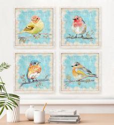 Картины маслом комплект из 4 Cute птиц искусство красивого стены искусства лаком искусства настенные изображения Ol-202077 размером 12x12 дюймов x 4 ПК в комплекте