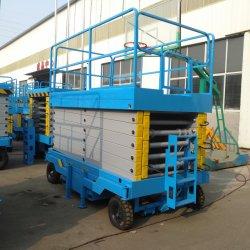 6 ~ 18 m シザープラットフォーム半自動シザーリフトエアリアルシザーリフト 屋内リフトミニシザー油圧プラットフォームリフター(アウトリグ搭載
