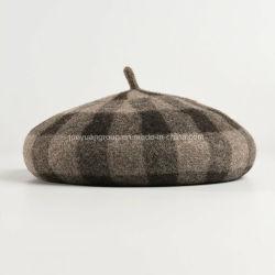 Китай дамы моды дизайн британских Vintage шерсть проверки береты Red Hat