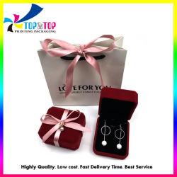 주문 우단 리본 부대를 가진 다중 보석함 결혼 반지 사슬 상자 반지 전시 Flannel 선물 상자