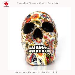 Mestiere domestico della resina della decorazione di Halloween del cranio variopinto del fiore di spavento