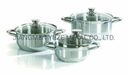 Conjunto do Potenciômetro de cozinha de aço inoxidável, Saucepot Profissional Caçarola com tampa de vidro temperado