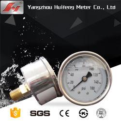 Todos os fios de aço inoxidável de óleo de gás líquido Manômetro de Pressão, Manômetro hidráulico, tubo de Bourdon Analog Manómetro