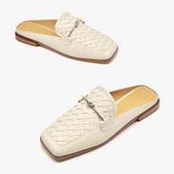 ينفصل لون أبيض أولى [جنوين لثر] علبيّة مطّاطة [أوتسل] أحذية