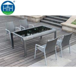 Meubles de jardin en osier Set Table et chaise de salle à manger Jardin patio paramètre