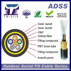 Boa qualidade de 24 Core Jelly-Filled tubo solto ADSS Customized Span Cabo de Fibra Óptica