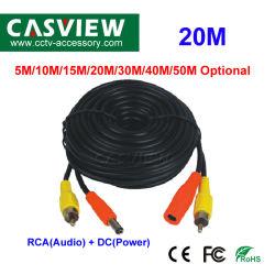 20m 2 in 1 CCTV Pre-Hanno fatto il cavo con il cavo del collegare degli accessori della macchina fotografica del connettore 5.5*2.1mm dell'audio e del RCA e di CC di potere