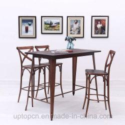 الأثاث الكلاسيكى مقهى طاولة مستطيل H نمط قاعدة عالية طاولة طعام خشبية مع ساق حديدية مصبوبة