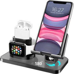 3 in 1 drahtloser Aufladeeinheits-Apple-Dreier-Standplatz-Apple-Uhr, Handy, für Airpod aufgebaut in 3 Ringen