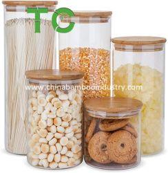Venda por grosso de vidro Canisters de cozinha em recipientes para armazenamento de alimentos, boiões de comida hermeticamente fechadas com tampas de bambu