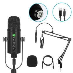 طقم ميكروفون Bm86 Metal Stand Studio Recording Live KTV كاريوكي ميكروفون مكثف USB لكمبيوتر شخصي iPhone Android