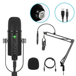Конденсаторный микрофон USB комплект металлическую подставку студия записи живой караоке караоке микрофона USB для ПК компьютер iPhone Android