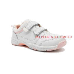 女の子および男の子の二重ヴェルクロデザイン方法白い甲革のための子供のスポーツの靴