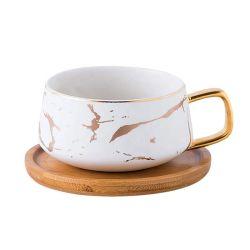 10oz金手プリント陶磁器の茶カップ・アンド・ソーサーセット