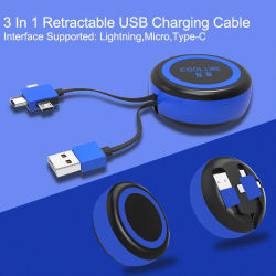 10W sans fil avec Chargeur 3 en 1 câble USB rétractable. Chargement rapide chargeur sans fil et câble USB. Câble micro USB, câble de type C et de la foudre câble.