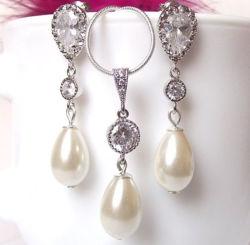 Teardrop et Pearl CZ bijoux Set, Malania Or Rose Earrings et ensemble de Collier, Don bijoux Set, demoiselle d'honneur bijoux Set, ensemble de bijoux de mariage