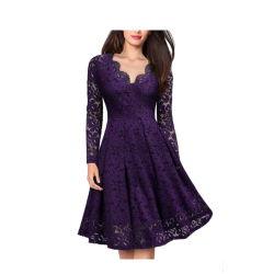 La vente de robe dentelle ins Hot encolure en V à manchon long Mesdames Robe en une seule pièce