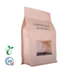 Fermeture à glissière de papier Kraft Eco à fond plat de pochette de café au goutte à goutte la fécule de maïs bio dégradables Sac PLA