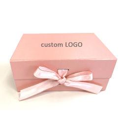Impressão personalizada de papelão da embalagem de papelão Rosa Magnética caixa dobrável com Ribbon Caixa de oferta/ Jóias Caixa de Embalagem /Cosmetic Caixas de Acondicionamento