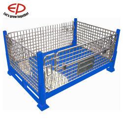 Depósito de aço dobrável de galvanizar a armazenagem da gaiola de malha de arame
