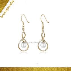 Fashion 925 Sterling Silver 9K 14K 18K plaqué or Bijoux Bijoux Drop Earring Pearl