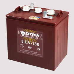 3-EV-180 Batterij 6V 180ah van de Tractie van de Batterij van de Kar van het Golf van de Cyclus van het Lood van het elektrische voertuig de Zure Diepe