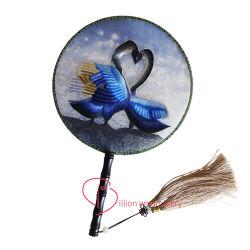 Bordados decorativos de Arte do Ventilador de moda com Flower Lotus Swan Pintura