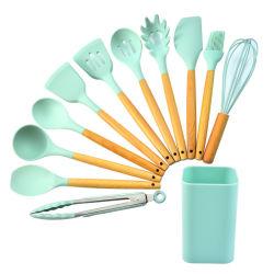 12 Pedaços de Silicone utensílios de cozinha utensílio de cozinha com pega de madeira