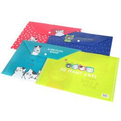 A4 크기 PP 플라스틱 봉투 단추 파일 폴더 포켓 봉투 문서 홀더 파일 백