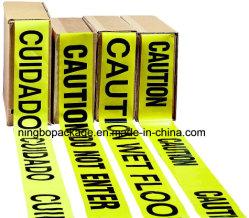 Blanco y negro y amarillo de protección de plástico PE cinta de precaución