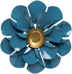 Antique Hogar y jardín ornamental de la pared de hierro de metal de Mallory Art Decó flor azul