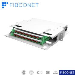 ODF de bac intégré 1u 2u panneau de raccordement SC FC 12 24 ports fibre optique de bâti de distribution