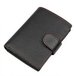 محفظة سوداء ذات سعة كبيرة من الجلد الأصلي