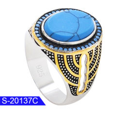 Neu Ankunft Modeschmuck 925 Sterling Silver Turquoise Stone Männer Ringe zum Verkauf